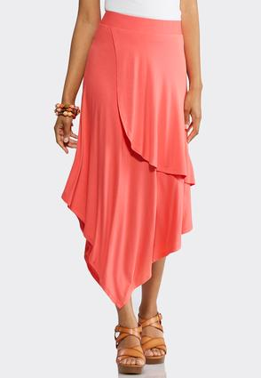 Plus Size Solid Faux Wrap Midi Skirt