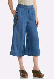 Cropped Embroidered Chambray Pants