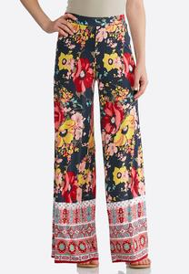 Petite Summer Floral Palazzo Pants