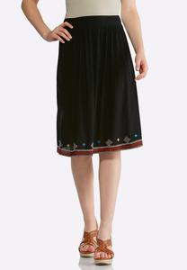 Plus Size Embroidered Gauze Skirt