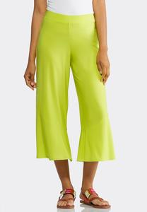 Lime Twist Cropped Palazzo Pants