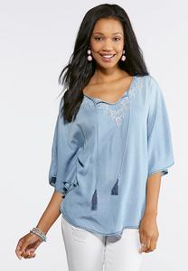 Plus Size Chambray Embroidered Poncho Top