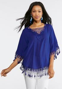Plus Size Fringe Trim Poncho Top