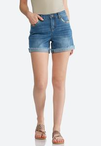 Multicolored Stitch Denim Shorts