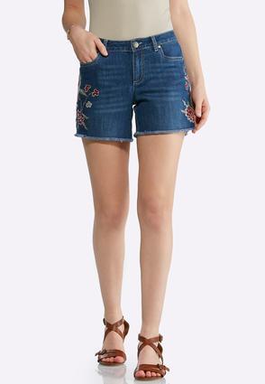 Floral Embroidered Denim Shorts | Tuggl