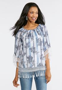 Striped Floral Fringe Trim Top