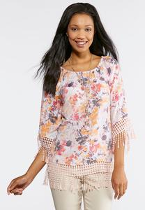 Orchid Fringe Trim Poet Top
