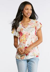 Floral Split Neck Flutter Top
