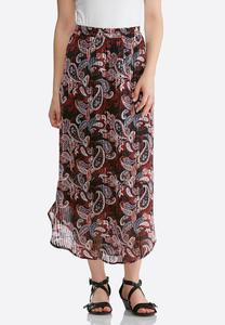 Plus Size Textured Woven Paisley Skirt