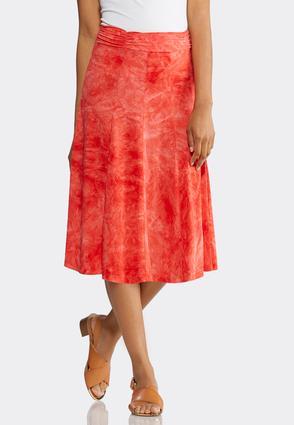 Plus Size Tie Dye Pleated Knit Skirt   Tuggl