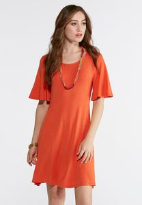 Solid Flutter Sleeve Swing Dress