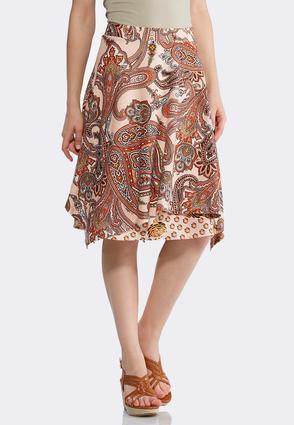 Plus Size Coral Paisley Double Layer Skirt | Tuggl