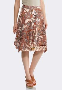 Plus Size Coral Paisley Double Layer Skirt