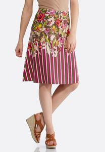 Plus Size Stripe Floral Fit And Flare Skirt