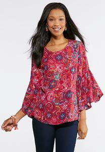 Festival Floral Bell Sleeve Top