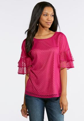 Dotted Mesh Ruffled Sleeve Top