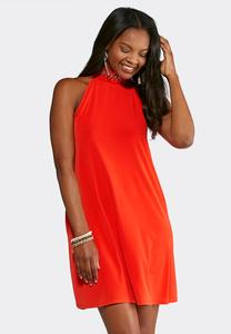 Plus Size Grommet Embellished Swing Dress