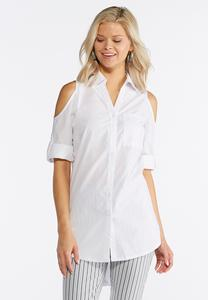 Cold Shoulder Poplin Shirt