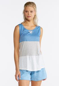 Plus Size Stripe Colorblock Tank