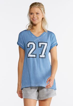 Plus Size Faded Number Athleisure Tee | Tuggl