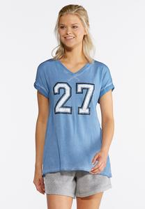 Plus Size Faded Number Athleisure Tee