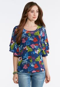Plus Size Cabana Floral Mesh Swing Top