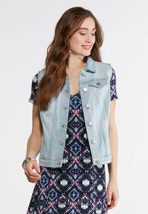 Plus Size Light Wash Denim Vest