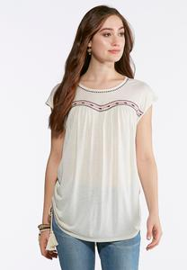 Embroidered Ruched Side Top