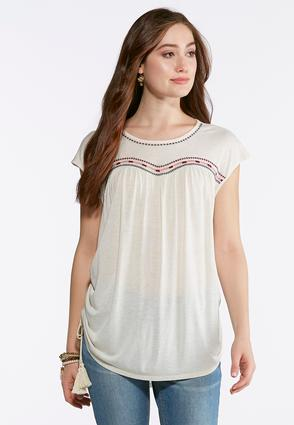 Plus Size Embroidered Ruched Side Top