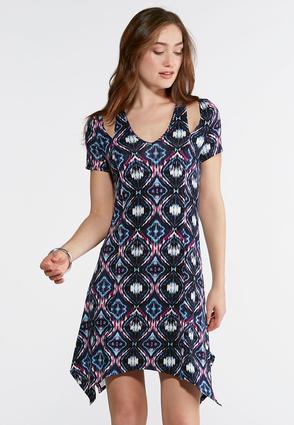Navy Diamond Cutout Sleeve Dress | Tuggl