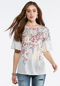 Plus Size Ruffle Bell Sleeve Floral Top