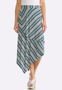 Striped Asymmetrical Midi Skirt