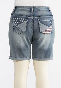Plus Size Stars And Stripes Denim Shorts