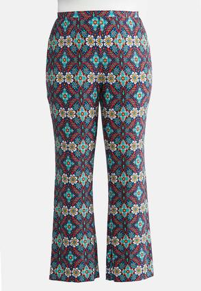 Plus Petite Multicolor Medallion Flare Pants | Tuggl