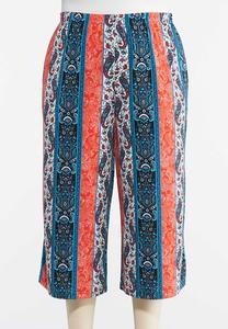 Plus Size Cropped Stripe Paisley Pants