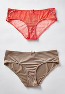 Plus Size Nude and Coral Mesh Panty Set