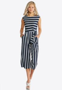 Plus Size Navy Stripe Tie Waist Jumpsuit