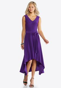 Tie Waist High-Low Dress