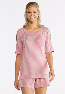Stripe Cold Shoulder Athleisure Top