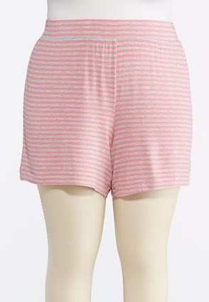 Plus Size Striped Athleisure Shorts   Tuggl