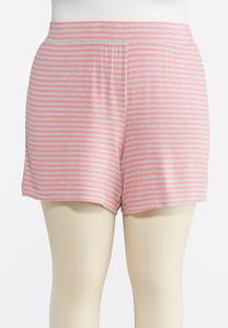 Plus Size Striped Athleisure Shorts