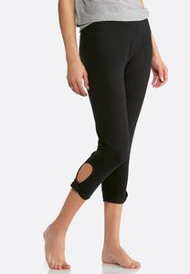 Cropped Knotted Cutout Leggings