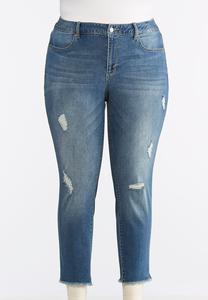 Plus Size Distressed Frayed Hem Jeans