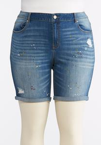 Plus Size Distressed Paint Splatter Denim Shorts