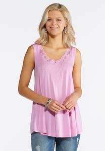 Scalloped Embroidered Tank