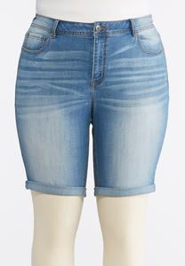 Plus Size Cuffed Jean Shorts