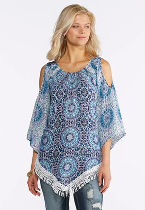 Plus Size Medallion Crochet Trim Poet Top at Cato in Brooklyn, NY | Tuggl