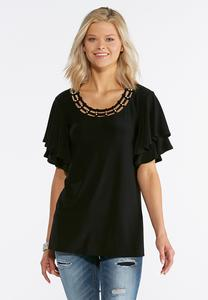 Plus Size Pearl Embellished Tiered Sleeve Top