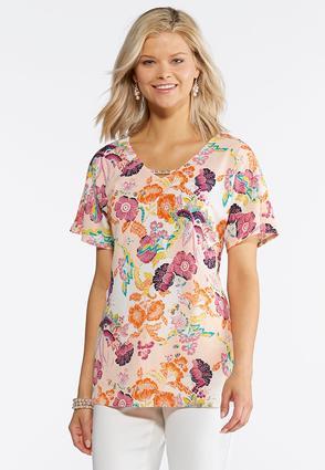Plus Size Embellished Garden Floral Top | Tuggl