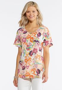 Plus Size Embellished Garden Floral Top